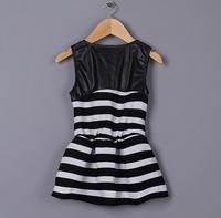 2015 Baby Girls Patchwork Leather Rivet Summer Striped Dress, Princess Elegant Formal Wear, 5 Pcs/lot, Free Shipping