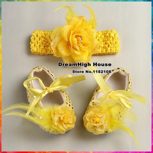 Fashion Girl Sequins sapato menina Baby shoes shabby flowers Crochet headband shoes kids Ballerina hair accessories set #2T0040(China (Mainland))