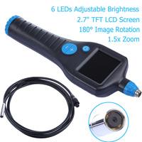 "2.7"" TFT LCD Industrial Endoscope Video Inspection Camera Endoscopy 1.5X Zoom 180 Rotation 6LEDs Borescopes"