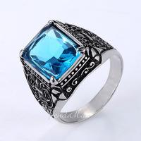 Punk Mens Blue CZ Cubic Zirconia 4-Prong Solitaire Ring Fleur De Lis Silver Tone 316L Stainless Steel Ring US Size 8-13 HR237
