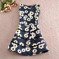 Free shipping Wholesale 2014 new European and American big-name fashion women's Slim sleeveless dress flowers sunflowers