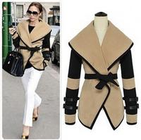 Hot New Woman Coat  Woolen Winter Jacket Novelty Slim Belt Sashes Basic jacket  Contrast Color M-XXL Plue SIze SJY746