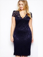 2014 wholesale Fashion fat women lady maxi dresses V-neck lace dress Slim hip sexy large size Beautiful summer dress M-XXXL