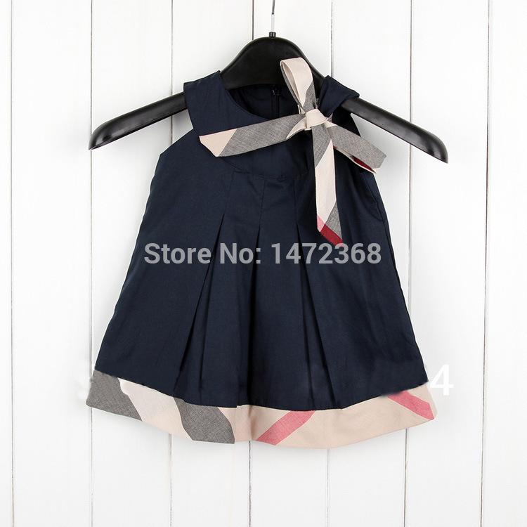 Hot sale 2015 new brand children dress with Plaid stitching summer Decorative bow girl clothing fashion sleeveless girl dress(China (Mainland))