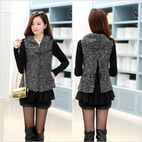 Fashion Fall Winter Slim Fit Mix Color Print Women Woolen Coat Warm Jackets Woman Coat Large Size Outwear