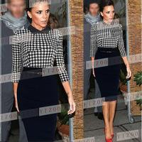 Plus Size 2014 New European Fashion Women Elegant Swallow Gird Patchwork Knee Length OL Celebrity Bodycon Party Evening Dresses