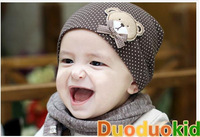 Autumn Spring Coffee Baby Boys warm Autumn Bear Caps chlidren Hats Unisex Beanie Free shipping