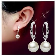 New Arrival 925 Sterling Silver Shining CZ Diamond Crystal Peal Ear Studs Earrings Jewelry E-shine Jewelry T0331