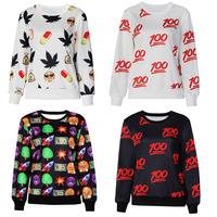 Winter Womens White Black Shirts Emoji Printed Sweatshirt New Autumn Women Hoodies Plus Size Emoji Clothes Casual Track Suits