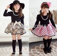 2015 Korean Xmas Baby Girls Kids Polka Dot Plaid Party Dance Fancy Dress Clothes 2-7Y