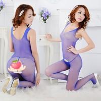 spandex pink women unitard catsuit open crotch full body fishnet catwoman costume Pink Black Blue