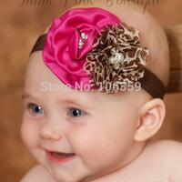 Satin Flower Rosette Headband Little Girl Hair Bows Shabby Baby Headband Giraffe Couture Headband Shower Gift 10pcs HB091