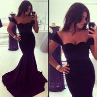 2014 New Long Evening Dress Formal Dresses Sweetheart Sleeveless Black Mermaid Evening Dress Hot Sale Vestido De Festa Renda