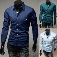 New Luxury Ribbon Turn Down Collar Long Sleeve Mens Shirt 5041