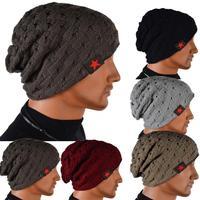 Men's Knit Winter Hat Beanie Reversible Skull Chunky Baggy Warm Winter Cap accessories 3008