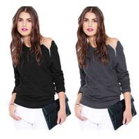 S-L European and American Style Fashion Long-sleeved Side Zipper Women Lady Sweatershirts Female T-Shirts ic852431