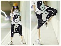 Men Women Unisex Mix-color Stylish Eight Diagrams Printing Hip Hop Street Dance Shorts Capries FS3270