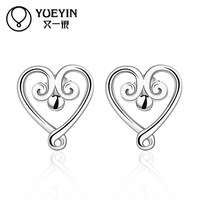 Free Shipping New Hot Sale Women's Heart Shaped Silver Plated Earrings for Women Ladies