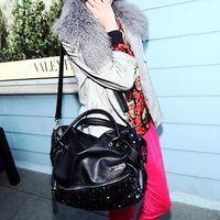 Bling Leopard Women Satchel Bag fashion Tote Messenger leather purse shoulder handbag Free Drop Shipping Y9