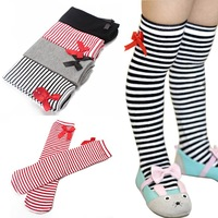 New Baby Girls Cute Bowknot Colorful Stripes In tube Stockings 1-8Years Kids High Tights Stocking