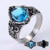Punk Mens Boys Blue Oval CZ Cubic Zirconia Solitaire Ring Fleur De Lis Silver Tone 316L Stainless Steel Ring US Size 8-13 HRM37