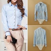 Fanshou Free Shipping 2015 Women Blouses Autumn Fashion Bodysuit Turn-down Collar Casual Shirt Women Body Shirt Blusas Femininas
