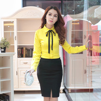 Women Blouses 2014 Fashion Autumn and Winter Lace Patchwork S-2XL long-sleeve shirt  plus size Office Lady work wear Elegant Top