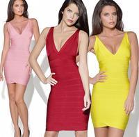 2014 New European Fashion Summer Women Sexy V-Neck Backless Slim Celebrity Bandage Bodycon Party Evening Dresses Plus Size