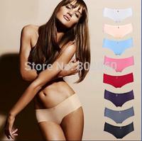 wholesale 60pcs women Seamless ice silk panties Slim sexy underwear female solid low-waist briefs via express shipping