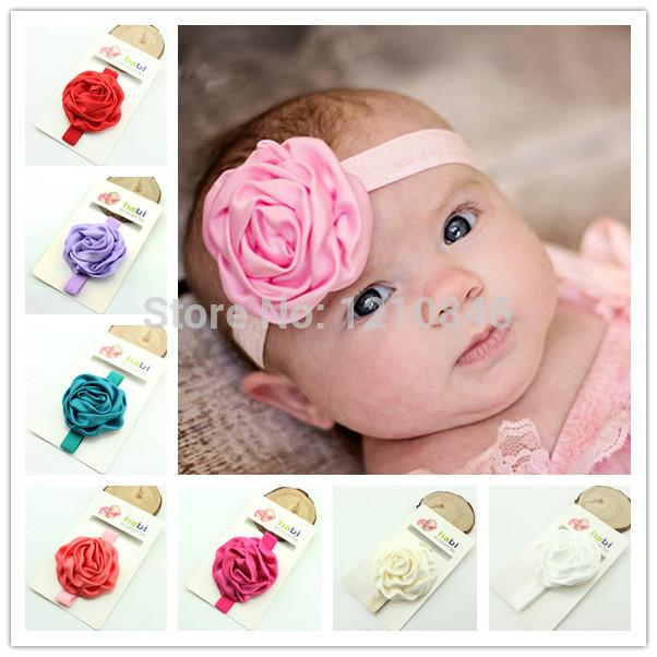 Matte satin ruffled rose flower hairband 16pcs/lot hair accessories baby girl gift Photo Prop christmas handmade flower headband(China (Mainland))
