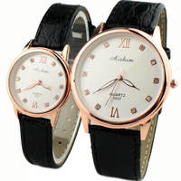 Lovers Watches with Leather Strap Casual Fashion Ladies watch Upscale Rhinestone Girl and Boy Students Elegant Quartz Wristwatch