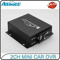 2CH Car DVR Black Box MINI SD card mobile DVR with motion detection function max 32GB SD card 720*576 Car Black Box Mobile