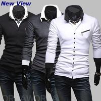 New 2015 Autumn polo shirt men Brand Famous Black unique zipper Cotton Casual long-sleeves shirt men Autumn/Winter Drop Shipping