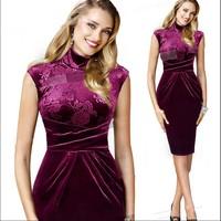 2014 Autumn Fashion Women Dresses 3/4 Sleeve Plaid Illusion Elegant Bodycon Slim Stretchy Knee-length Pencil Dress Plus Size XXL
