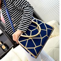 2014 autumn and winter horsehair patchwork shaping women's handbag watercubic shoulder bag handbag black blue