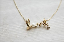 Fashion Jewelry Gold Plated Pearl Love Pedants Neckalce For Women 2015 New Statement Collar Necklaces Wholesale