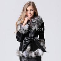 EMS Free Shipping 2014 New WINTER Women Women's Genuine Real Fox Fur Leather Jacket Fox Furs Coat Luxury Fur Jacket For Women