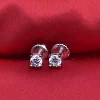 LSE934 Stud Earrings 925 sterling silver Screw Back earring zircon 6mm, free shipping