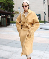 Autumn winter woman  vintage loose maxi coat  cocoon coat oversized ankle length coat   x-long woolen blazer FF442
