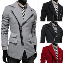 High Quality Irregular Zipper Pocket Men Wool Coat 2015 Winter Men's Long Slim Fit Military Style Pea Coats Jackets M-XXL(China (Mainland))
