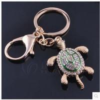 Novelty Rhinestone Tortoise Keychains Keyring Fashion Animal Turtle Metal Crystal Key Chains Ring Holder Gift