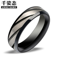 Personalized Stainless Steel Men Jewelry Black Slanting Stripe Titanium Finger Ring 9226 for Power Men Gift Free Shipping
