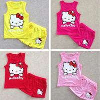 children clothing sets new 2015 summer baby hello kitty sets for girl clothing set children wear clothes vests+shorts 2pcs sets