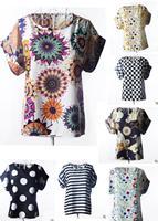 Free Shipping Leisure Loose Round Neck Printed Chiffon Blouse Blouse Bat Shirt Short-Sleeved Chiffon Shirt Big Size