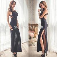 Sexy gauze 2014 racerback patchwork slim full dress evening dress dresses one-piece dress l3603