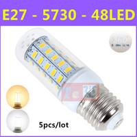 5pcs/lot Latest Ultrabright SMD 5730 Energy Saving LED Lamp E27 9W 48LED AC 220V-240V Warm White/White Corn Bulb Christmas Light