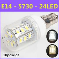 10pcs/lot Ultrabright Energy Saving LED Lamp SMD 5730 E14 5W 24led AC 220V-240V Warm White/White Corn Bulb Christmas Light