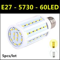Ultrabright SMD 5730 LED Lamp E27 60led 15W AC 220V-240V Warm White/White Corn Bulb Light For Christmas decoration 5pcs/lot