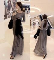 2013 Casual Women OL Round Neck Long Sleeve Slim Maxi Long Dress Spring Fall Khaki Black Free shipping 10152