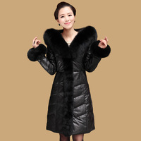 2014  new dress Down jacket 100% real FOX fur Fur collars Woman's clothes winter jacket Sheep skin Leather jacket  Free shipping